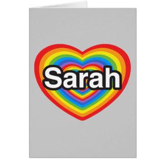 Amo a Sarah. Te amo Sarah. Corazón Tarjeta De Felicitación