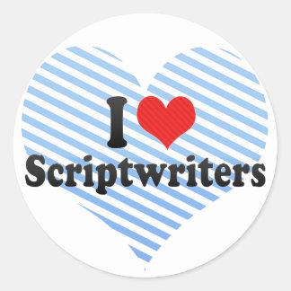 Amo a Scriptwriters Etiqueta Redonda