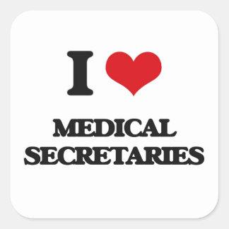 Amo a secretarias médicas calcomanía cuadradas personalizadas