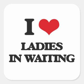Amo a señoras en esperar pegatina cuadradas personalizada