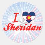 Amo a Sheridan, Colorado Etiquetas Redondas