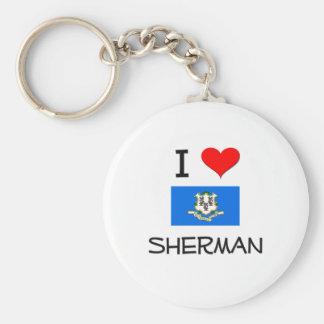 Amo a Sherman Connecticut Llavero Redondo Tipo Pin