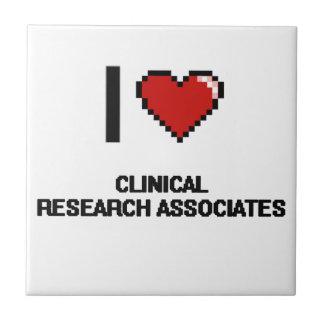 Amo a socios de investigación clínicos azulejo cuadrado pequeño