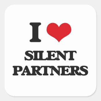 Amo a socios silenciosos pegatina cuadrada