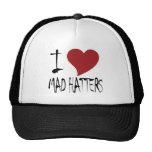 Amo a sombrereros enojados gorras