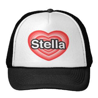 Amo a Stella. Te amo Stella. Corazón Gorros Bordados