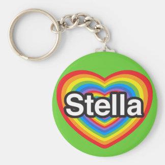 Amo a Stella. Te amo Stella. Corazón Llavero Redondo Tipo Pin