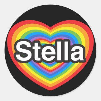 Amo a Stella. Te amo Stella. Corazón Pegatina Redonda