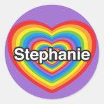 Amo a Stephanie. Te amo Stephanie. Corazón Pegatina Redonda