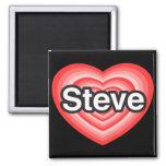 Amo a Steve. Te amo Steve. Corazón Imán Cuadrado