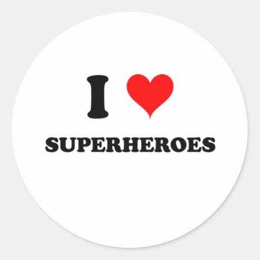Amo a super héroes pegatina redonda