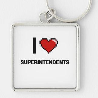 Amo a superintendentes llavero cuadrado plateado