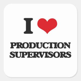 Amo a supervisores de la producción calcomania cuadradas personalizada