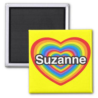 Amo a Susana. Te amo Susana. Corazón Imán Cuadrado
