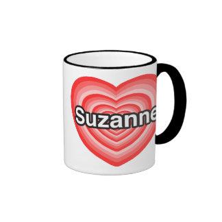 Amo a Susana. Te amo Susana. Corazón Taza De Dos Colores