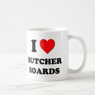 Amo a tableros de carnicero taza de café