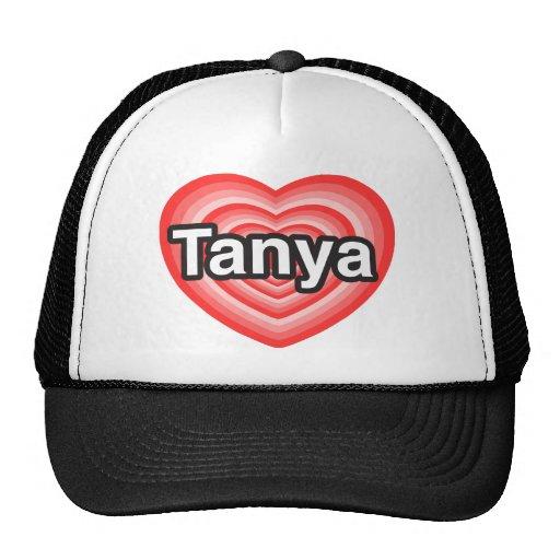 Amo a Tania. Te amo Tania. Corazón Gorros Bordados