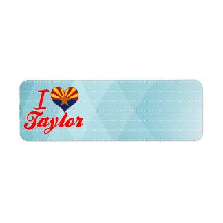 Amo a Taylor, Arizona Etiquetas De Remite