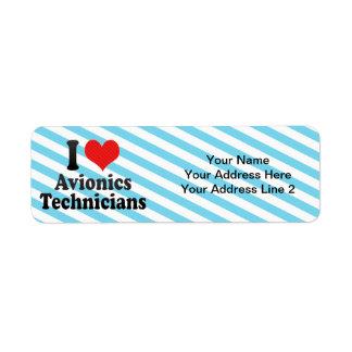 Amo a técnicos de la aviónica etiquetas de remite