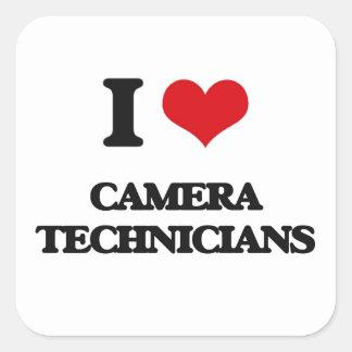 Amo a técnicos de la cámara pegatinas cuadradases personalizadas