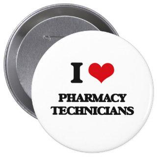 Amo a técnicos de la farmacia pin redondo de 4 pulgadas