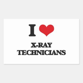 Amo a técnicos de la radiografía pegatina rectangular
