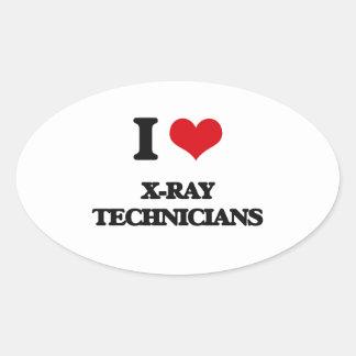 Amo a técnicos de la radiografía pegatina ovalada