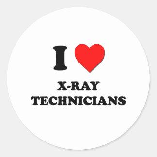 Amo a técnicos de la radiografía etiquetas redondas