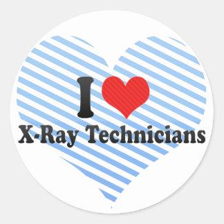 Amo a técnicos de la radiografía pegatina redonda