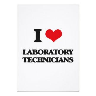 Amo a técnicos de laboratorio invitación 12,7 x 17,8 cm
