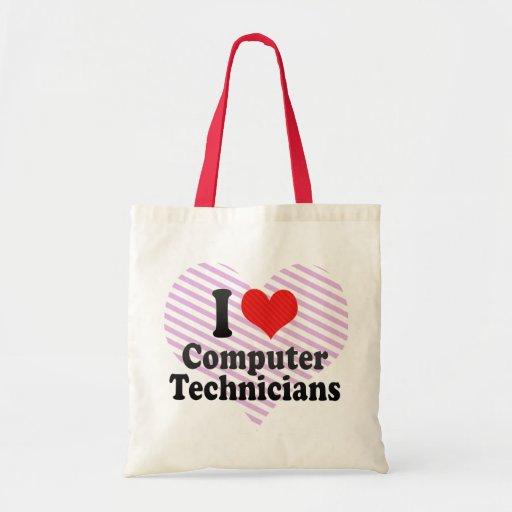 Amo a técnicos del ordenador bolsa tela barata