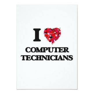 """Amo a técnicos del ordenador invitación 5"""" x 7"""""""