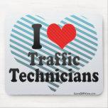 Amo a técnicos del tráfico alfombrillas de ratones