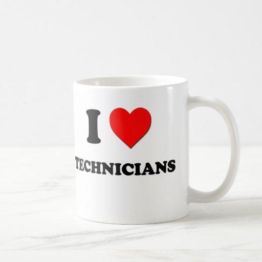 Amo a técnicos taza básica blanca