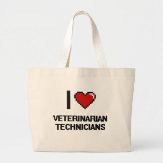 Amo a técnicos veterinarios bolsa tela grande