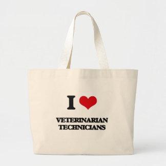 Amo a técnicos veterinarios bolsa de mano