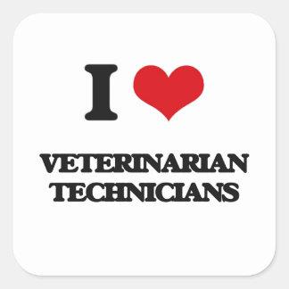 Amo a técnicos veterinarios calcomanías cuadradas personalizadas