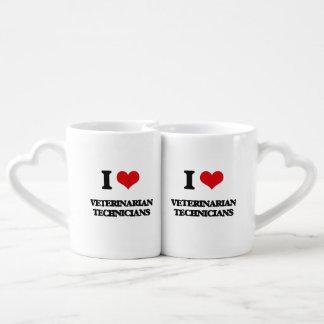 Amo a técnicos veterinarios taza para parejas