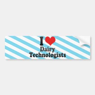 Amo a tecnólogos de la lechería pegatina de parachoque