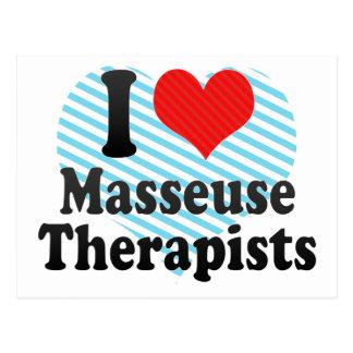 Amo a terapeutas de la masajista postales