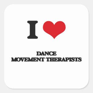 Amo a terapeutas del movimiento de la danza calcomanías cuadradass