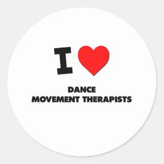 Amo a terapeutas del movimiento de la danza etiquetas redondas