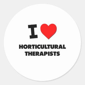 Amo a terapeutas hortícolas etiquetas redondas