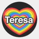 Amo a Teresa. Te amo Teresa. Corazón Pegatina Redonda