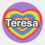 Amo a Teresa. Te amo Teresa. Corazón Pegatinas Redondas
