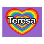 Amo a Teresa. Te amo Teresa. Corazón Tarjetas Postales