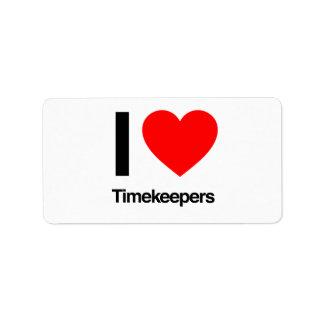 amo a timekeepers etiqueta de dirección