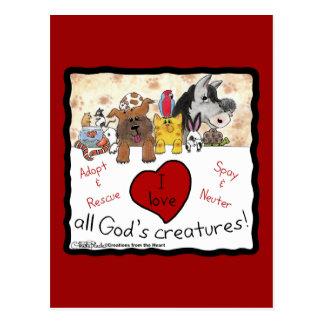 Amo a todas las criaturas de dioses tarjeta postal
