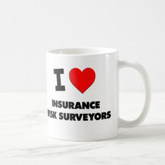 Amo a topógrafos del riesgo del seguro taza de café