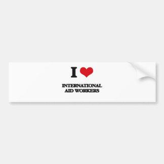 Amo a trabajadores de ayuda internacional pegatina para coche